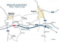 mapa úseku D1 Mořice - Kojetín