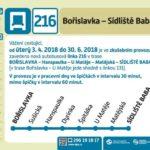 Zavedení zkušební autobusové linky číslo 216