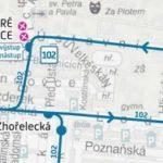 Dočasná změna trasy a zastávek pro linku číslo 102