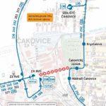 Dočasná změna trasy a zastávek pro linky 136, 140, 158, 202, 351 a 911 a dočasné zrušení provozu linky 915