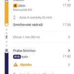 Jízdní řády a zpoždění v síti PID na Mapách Google
