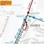 Dvorce – Nádraží Braník (respektive Sídliště Modřany): dočasné přerušení provozu tramvají