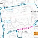 Dočasná změna trasy a zastávek pro linky číslo 136, 213 a 911 v části Opatovské ulice